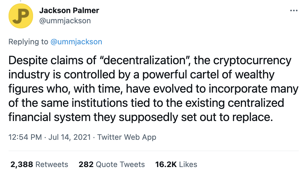 Tweet by Jackson Palmer about cryptocurrency