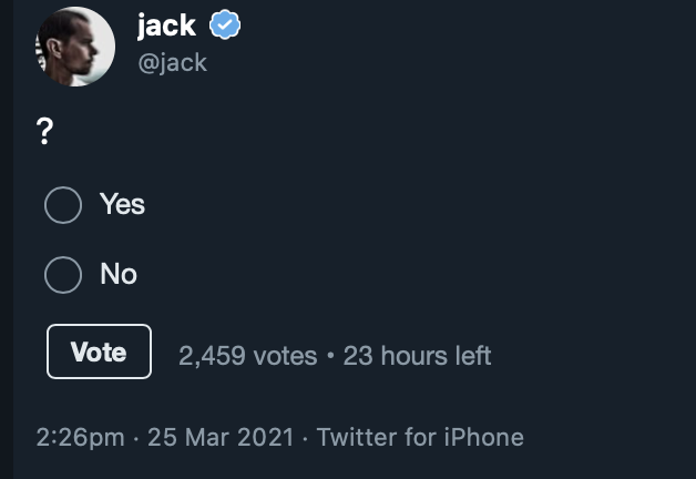 Jack post a vote poll in twitter